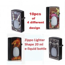 (10pcs mix design) Zippo Lighter Shape E-Liquid Bottle 20ml