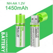 2pcs Portable AA Battery 1450mAh 1.2v USB Rechargeable