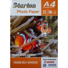 A4 135gsm Matte Inkjet Coated Photo Self-Adhesive Paper Sticker 50 sht