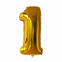 40 inch Big Size Number 1 Foil Balloon Gold Color Birthday Party