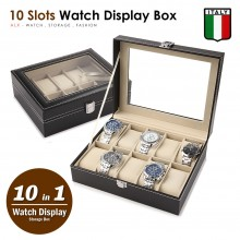 10 Slots Premium Italy Leather Watch Display Pillow Holder Case Storage Box 002