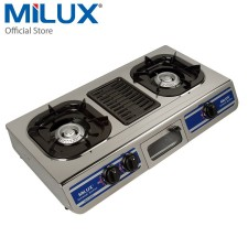 Milux Stainless Steel Gas Cooker Double Burner With Grill Plate MSS-2500G