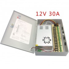 Professional 12V DC 30A 18 Channel Boxed CCTV Power Supply Unit