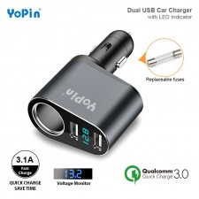 YoPin Quick Charge 3.0 Car Charge Cigarette Lighter Socket Dual USB YOPIN-30