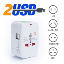 International Worldwide Universal Travel Adapter 2 USB Port