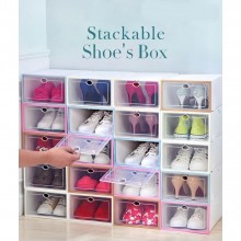 12 Units Stackable Shoe Box Multipurpose Storage Box Foldable Shoes Rack Attachable Organizer Casing