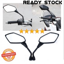 1 Pair Cool Motorcycle Black Prismatic Rearview Side Mirrors 8/10Mm Universal