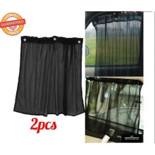 1 Pair Auto Car Protection Window Curtain Sun Shade With Suction Cup Black Cover