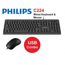 Philips C224 Wired Keyboard and USB Mouse Combo Set - Black ( SPT6224 )