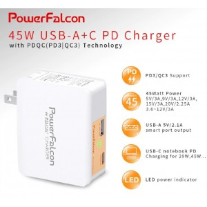 Power Falcon 45W USB-A+C PDQC (PD3/QC3) Charger Interchangeable