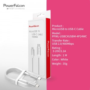 Power Falcon USBC-M Fast Charging MicroUSB to USB-C Charging & Data Cable