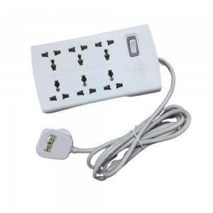 HUNTKEY SZM601 Power Extension Power Strip with 6 Sockets 2M Extension Cord Charging Station for all AC Socket White