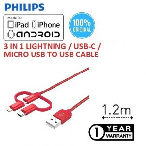 3 IN 1 Philips DLC4540VR-RD MFI Lightning & USB-C & Micro USB to USB A 2.0 Phone Cable Braided Nylon 1.2M ( RED)