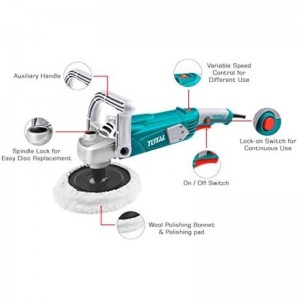 """TOTAL 1400W INDUSTRIAL ELECTRIC ANGLE POLISHER 7""""-180MM"""