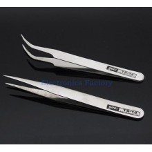 1 set Nonmagnetic Stainless Steel Curved Straight Tweezers